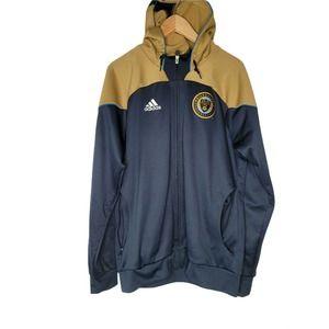 Adidas Philadelphia Union Blue Gold White Full Zip Up Jacket Men's Large